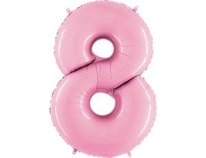 """Шар-цифра из фольги """"8"""" пастельный нежно-розовый - фото 1"""