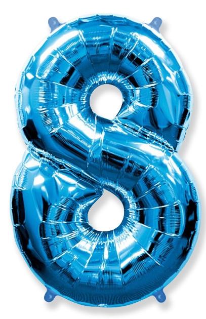 """Фольгированный надувной шар-цифра """"8"""" синяя с гелием - фото 1"""