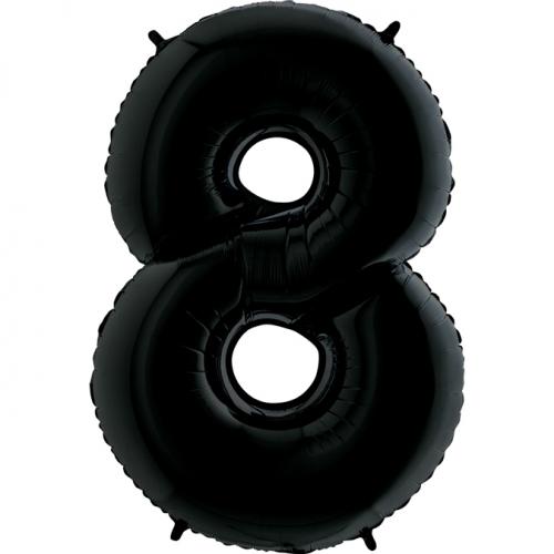 """Воздушный фольгированный шар-цифра """"8"""", Черная - фото 1"""
