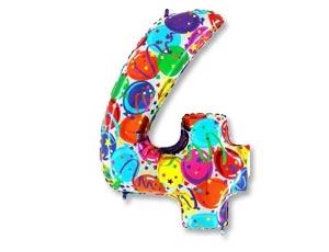 """Воздушный гелиевый шар-цифра """"4"""" с цветным рисунком - фото 1"""
