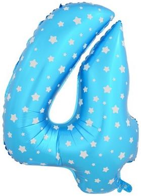 "Гелиевый шар-цифра ""4"" голубая со звездочками - фото 1"