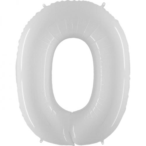 """Воздушный фольгированный шар-цифра """"0"""" белая - фото 1"""
