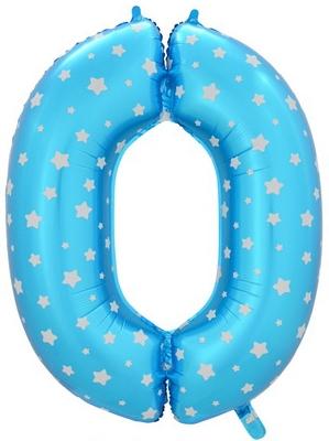 """Воздушный шар-цифра """"0"""" голубая со звездочками - фото 1"""