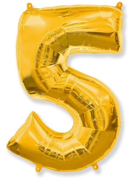"""Фольгированный шар-цифра """"5"""" золоая - фото 1"""