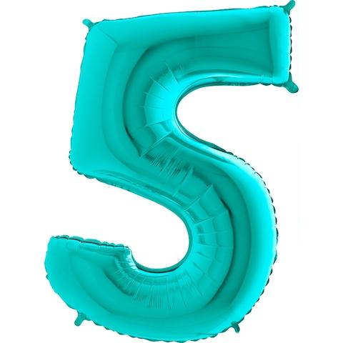 "Фольгированный шар-цифра ""5"", Тиффани - фото 1"