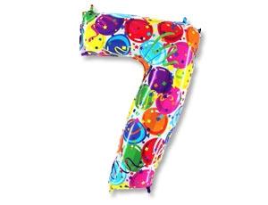 """Воздушный гелиевый шар-цифра """"7"""" с цветным рисунком - фото 1"""
