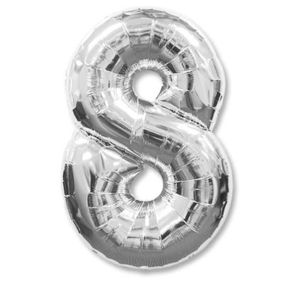 """Гелиевый фольгированный шар-цифра """"8"""" серебенная - фото 1"""