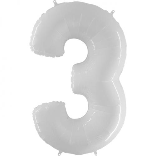 """Воздушный фольгированный шар-цифра """"3"""" белая - фото 1"""