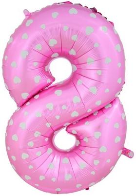 """Воздушный гелиевый шар-цифра """"8"""" розовая с сердечками - фото 1"""