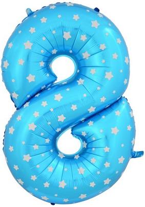 """Надувной шар-цифра """"8"""" голубая со звездочками - фото 1"""