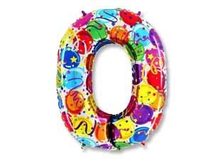 """Цветной шар-цифра """"Нолик"""" из фольги - фото 1"""