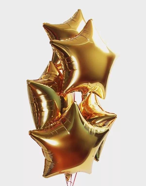 Фольгированная гелиевая звезда, Золото - фото 1