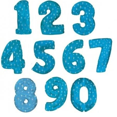 Воздушные шары-цифры из фольги, Синие звезды - фото 1