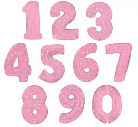 """Воздушные шарики-цифры из фольги """"Розовые звезды"""" - фото 1"""