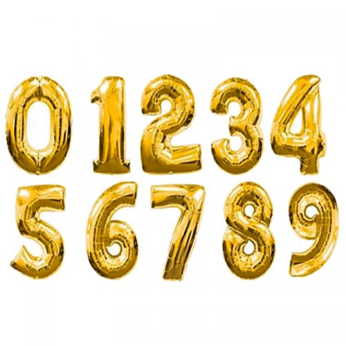 """Гелиевые шары-цифры из фольги """"Золото"""" на выбор - фото 1"""