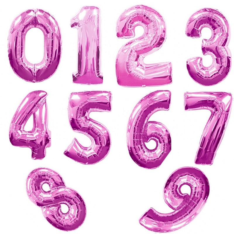 Гелиевые фольгированные шары-цифры, Фуксия на выбор - фото 1