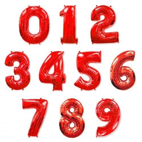 """Гелиевые шары-цифры из фольги """"Красные"""" на выбор - фото 1"""