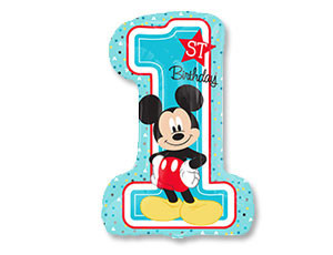 """Воздушный шар-цифра """"Первый день рождения с Микки Маусом"""" - фото 1"""