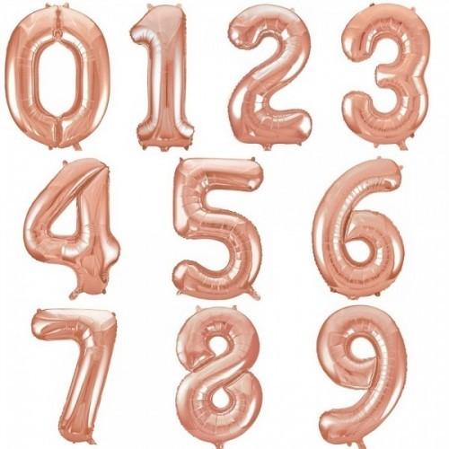 Фольгированные шары-цифры из фольги, Розовое золото - фото 1