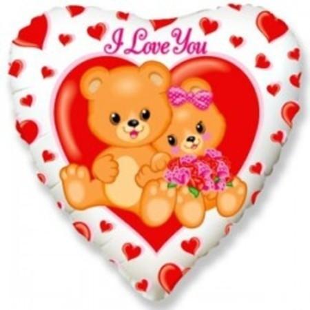 """Фольгированный шар-сердце с медвежатами """"Я тебя люблю"""" - фото 1"""