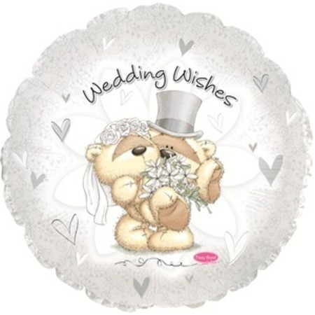 """Гелиевый шар с мишкой """"Свадебные пожелания"""" из фольги - фото 1"""