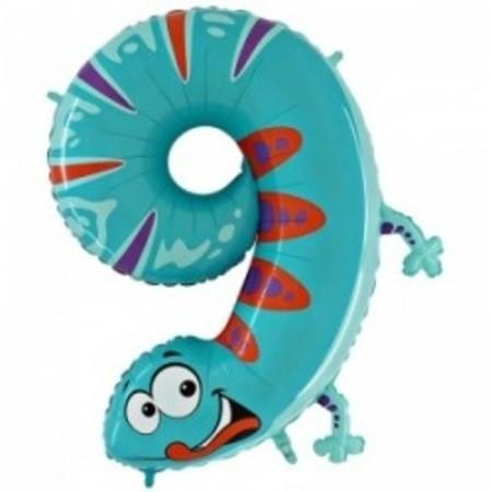 "Гелиевый шар-цифра 9 из фольги ""Хамелеон"" - фото 1"