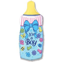 """Фольгированный шар """"Бутылка голубая"""", Мальчик выписка - фото 1"""
