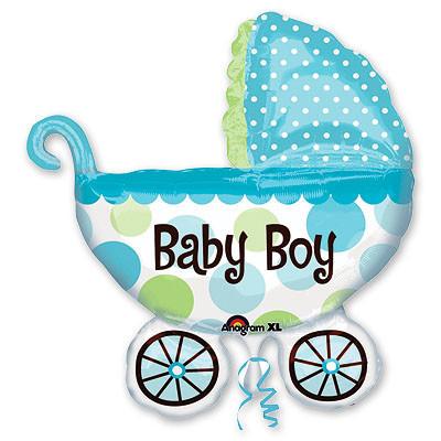 """Фольгированный шар """"коляски"""" для мальчика, выписка - фото 1"""