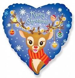 """Гелиевый шар в форме сердца """"Рождественский олененок"""" - фото 1"""