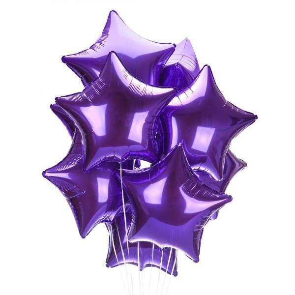 Гелиевый шар из фольги звезда, Фиолетовый - фото 1