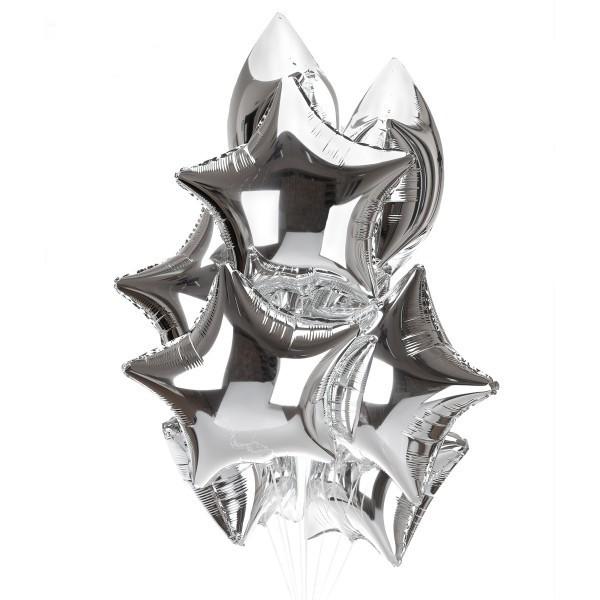 Фольгированные серебряные шары звезды - фото 1