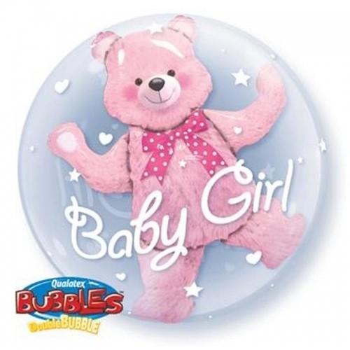 Воздушный шар с медвежонком внутри из фольги, выписка девочка - фото 1