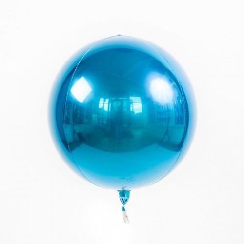 Гелиевый воздушный 3D шар сфера, Синий - фото 1
