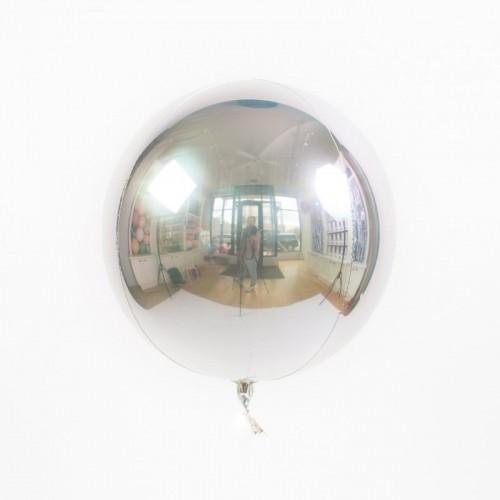 Гелиевый воздушный 3D шар сфера, Серебро - фото 1