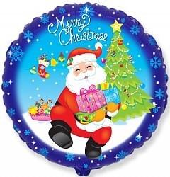 """Фольгированный шар """"Санта с подарком"""" на Новый год - фото 1"""