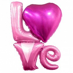 """Фольгированная надувная надпись """"LOVE"""" в розовом цвете - фото 1"""