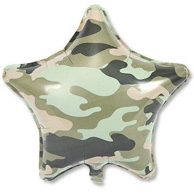 Воздушный шарик в виде звезды с камуфляжем на 23 февраля - фото 1