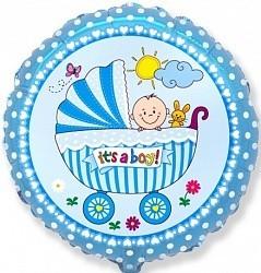 """Круглый шар нежно-голубого цвета """"It's a boy"""" из фольги - фото 1"""