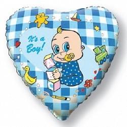 """Фольгированное сердце """"Я родился"""" на выписку мальчику - фото 1"""