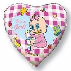 """Фольгированный шар-сердце """"Это девочка"""" на выписку - фото 1"""
