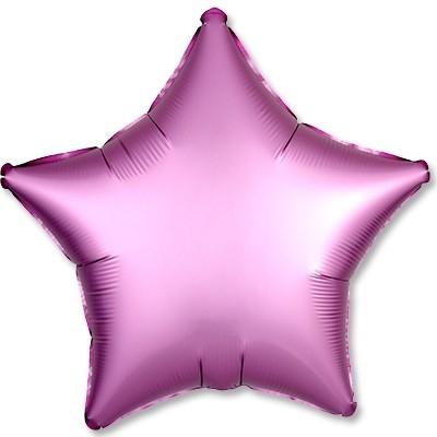 Гелиевая фольгированная звезда, Розовый Сатин - фото 1