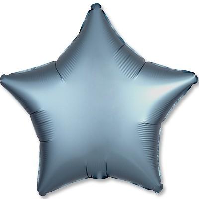 Гелиевая фольгированная звезда, Серый Сатин - фото 1