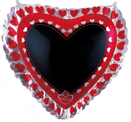 Фольгированное сердце, для надписи с маркером - фото 1