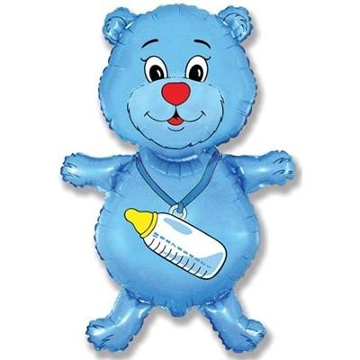 """Фольгированный шарик """"Мишка"""", синий - фото 1"""