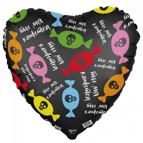 """Черный шар-сердце """"Ты моя конфетка"""" из фольги - фото 1"""