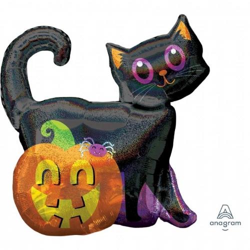 Фигурка кота с тыквой на Хэллоуин - фото 1