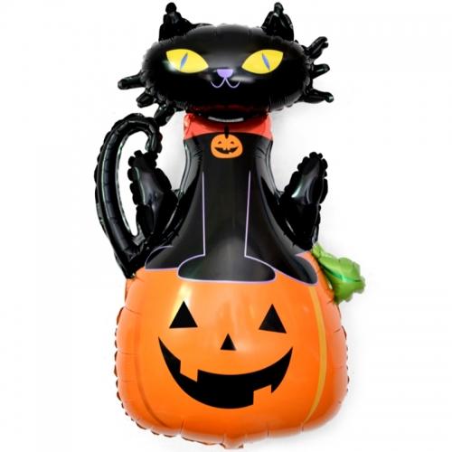 """Воздушный шар из фольги на Хэллоуин """"Кошечка на тыкве"""" - фото 1"""