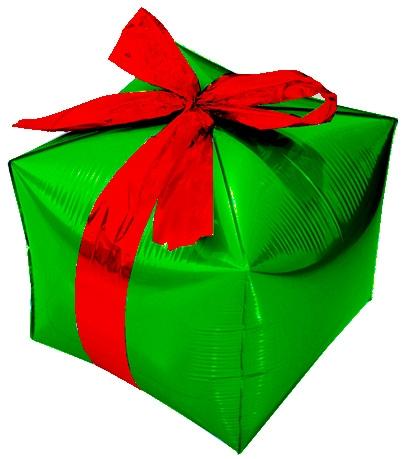 """Фольгированный шар зеленого цвета """"Подарок"""" - фото 1"""