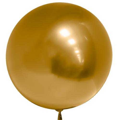 """Гелиевый воздушный 3D шар сфера """"Золото Хром"""" - фото 1"""