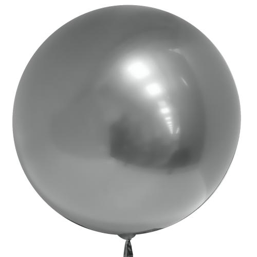 """Гелиевый воздушный 3D шар сфера """"Серебро Хром"""" - фото 1"""